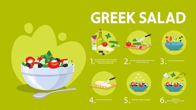 Receita de salada grega para vegetarianos. ingrediente saudável