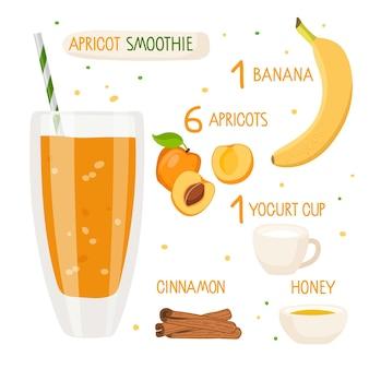 Receita de smoothie de damasco copo de damasco com ingredientes copo com líquido de laranja copo de frutas