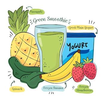 Receita de smoothie saudável com frutas