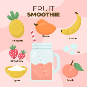 Receita de smoothie saudável ilustrada com frutas diferentes