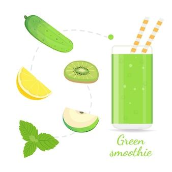 Receita de smoothie verde com ilustração de ingredientes