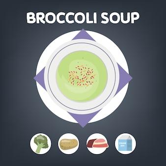Receita de sopa de brócolis para cozinhar em casa