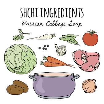 Receita de sopa de cozinha russa shchi