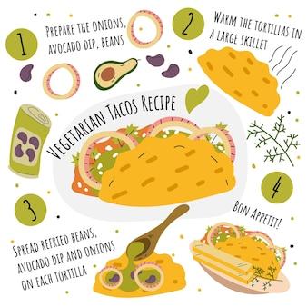 Receita de tacos vegetarianos desenhada à mão