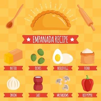 Receita empanada com ingredientes saborosos