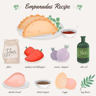Receita empanada com ingredientes