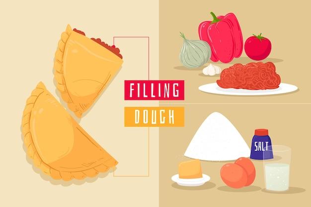 Receita empanada e deliciosos ingredientes