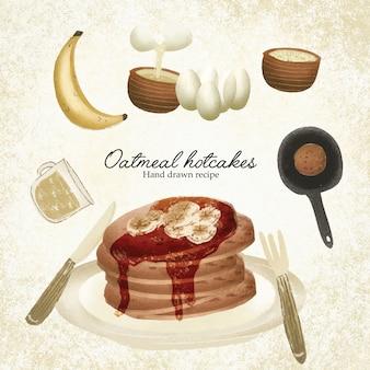 Receita ilustrada de biscoitos de aveia