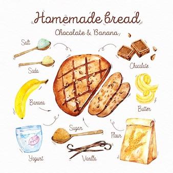 Receita ilustrada de pão caseiro