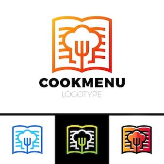 Receita ou cozinhar design do modelo do logotipo do livro. menu com o ícone da forquilha