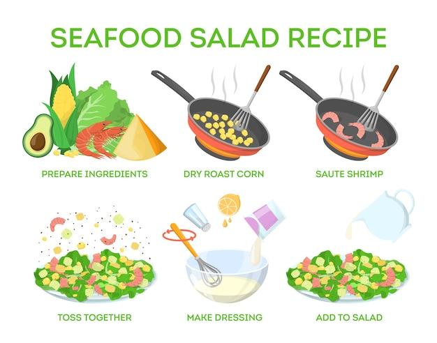 Receita saborosa de salada de frutos do mar. cozinhando em casa