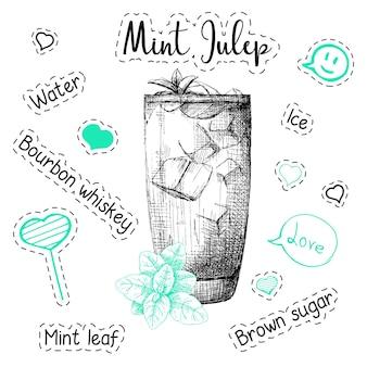 Receita simples de um coquetel alcoólico mint julep. ilustração em vetor de um estilo de desenho.