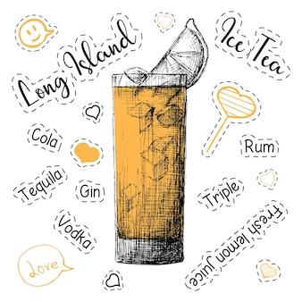 Receita simples para um coquetel alcoólico long island ice tea. ilustração em vetor de um estilo de desenho.