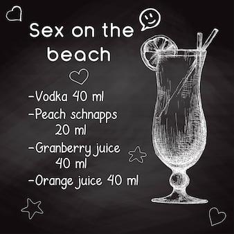 Receita simples para um coquetel alcoólico sex on the beach. desenho de giz em um quadro negro. ilustração em vetor de um estilo de desenho.