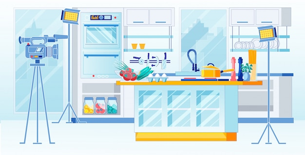 Receitas da casa da gravação do programa de televisão da cozinha, desenhos animados.