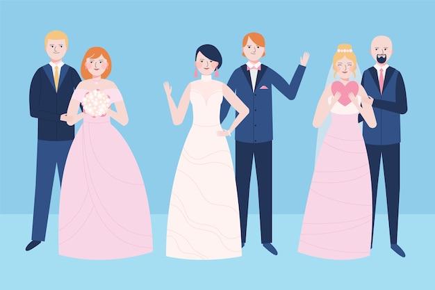 Recém-casados casal acenando vista frontal