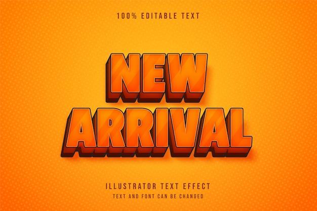 Recém-chegado, efeito de texto editável em 3d, gradação amarela e efeito de estilo cômico laranja