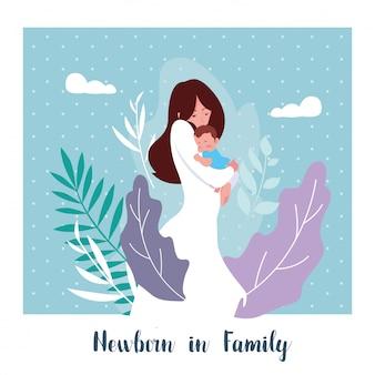 Recém-nascido em cartão de família com mãe e filho bonito bebê