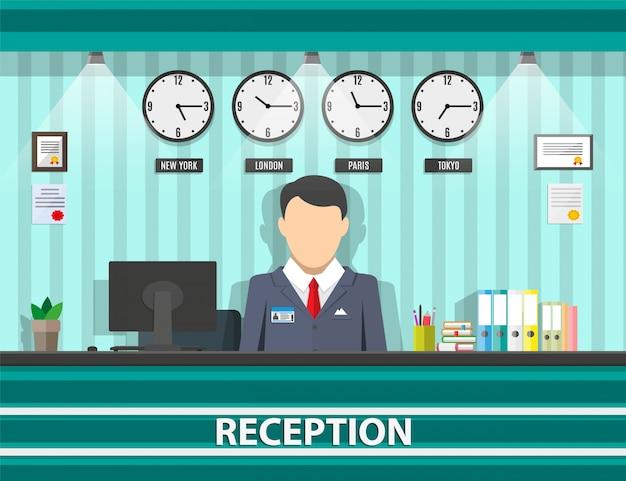 Recepção com recepcionista, interior