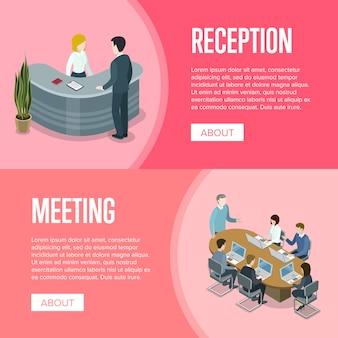 Recepção da empresa e modelo de banner de reunião de negócios