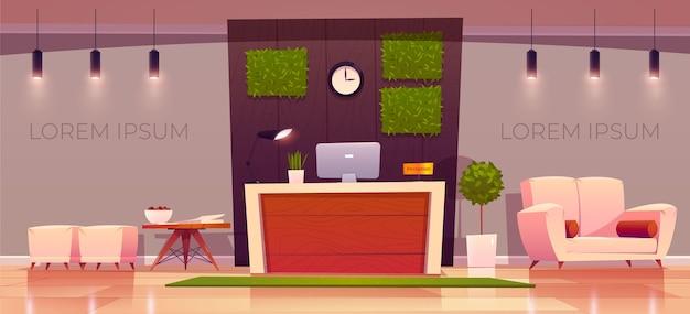 Recepção de hotel em flat ilustrada