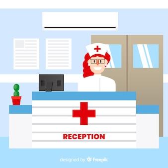 Recepção do hospital com design plano