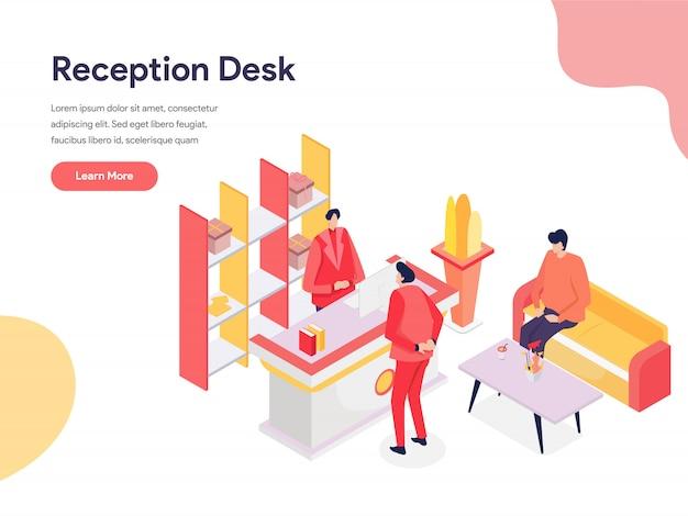 Recepção, escrivaninha, ilustração