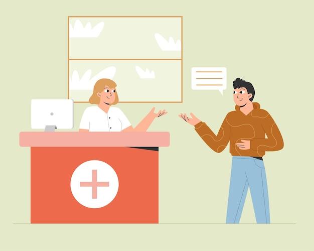 Recepção hospitalar com homem paciente e mulher enfermeira
