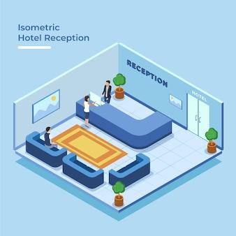 Recepção isométrica do hotel