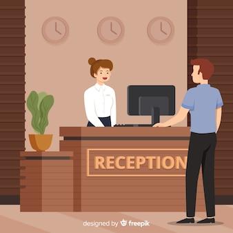 Recepcionista, cuidando do fundo do cliente