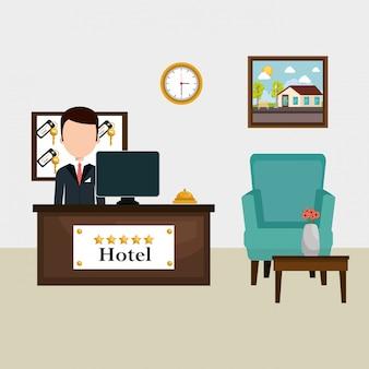 Recepcionista de hotel trabalhando avatar