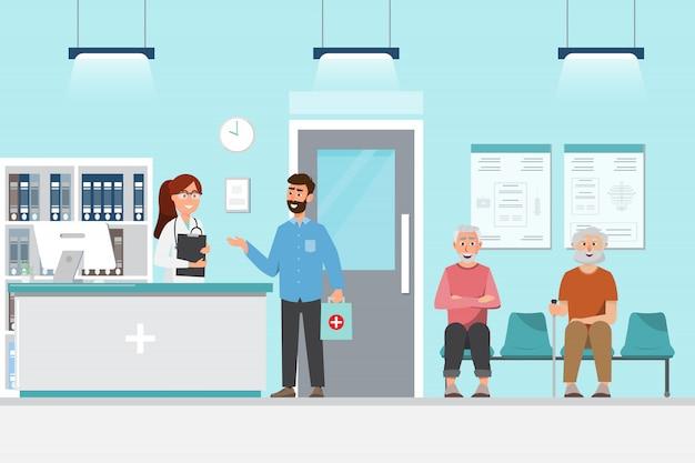 Recepcionista e pacientes sentam e esperam na frente do quarto no hospital em estilo simples