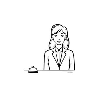 Recepcionista feminina em um hotel com um ícone de doodle de contorno desenhado de mão de sino de recepção. conceito de equipe de recepção