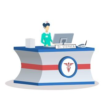 Recepcionista no centro médico