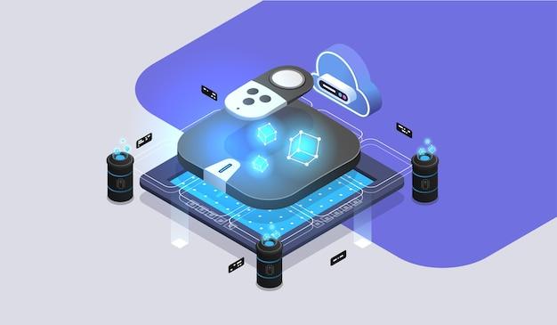 Receptor de satélite, caixa de configuração do reprodutor de mídia digital com controle remoto. ilustração isométrica moderna.