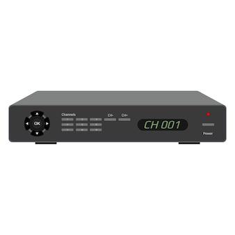 Receptor de satélite realista com visor, portas usb e botões de controle. dispositivo de controle de tv isolado no branco. vetor eps 10.
