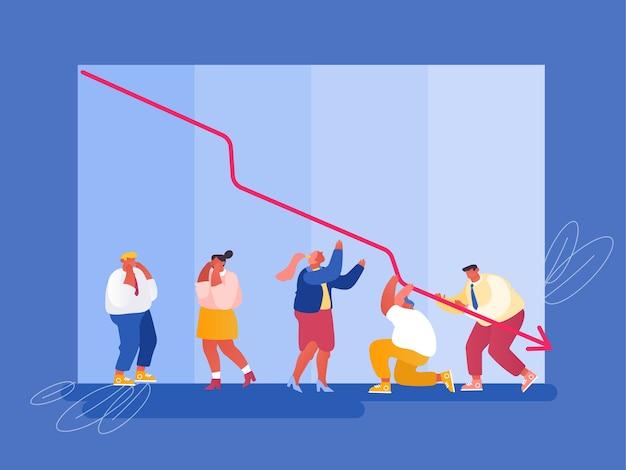 Recessão econômica e conceito de queda de vendas