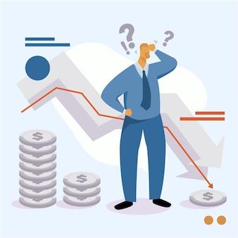 Recessão financeira de falência de design plano