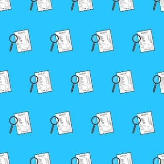 Recibo com lupa padrão sem emenda em um fundo azul. ilustração em vetor tema financeiro