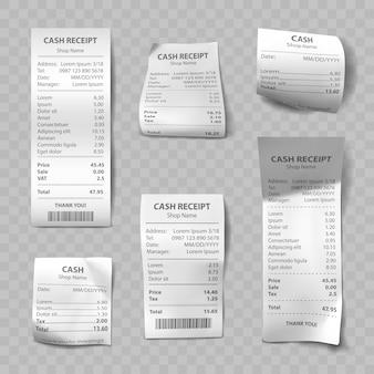 Recibo de loja realista, contas de pagamento em papel