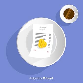 Recibo de pagamento com café