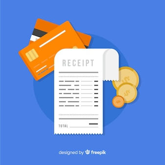 Recibo de pagamento e dinheiro