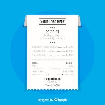 Recibo de pagamento em estilo plano