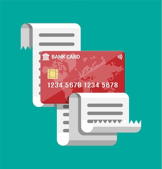 Recibo em papel e cartão de crédito.