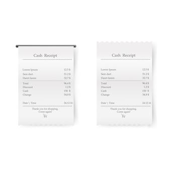 Recibo impresso de vendas. bill atm modelo, café, compras ou restaurante verificação financeira de papel.