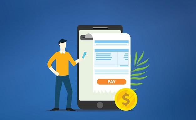 Recibo online de pagamento móvel