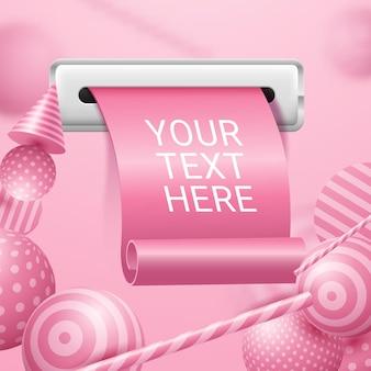 Recibo realista com papéis enrolados em fundo rosa