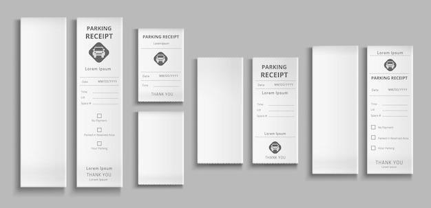 Recibos de estacionamento d modelos de papel, cheque de pagamento para transação de pagamento de serviço de estacionamento em branco e cartões preenchidos com maquete isolada de data e hora na parede cinza conjunto de ilustração realista