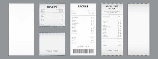 Recibos de loja, cheques em papel com código de barras.