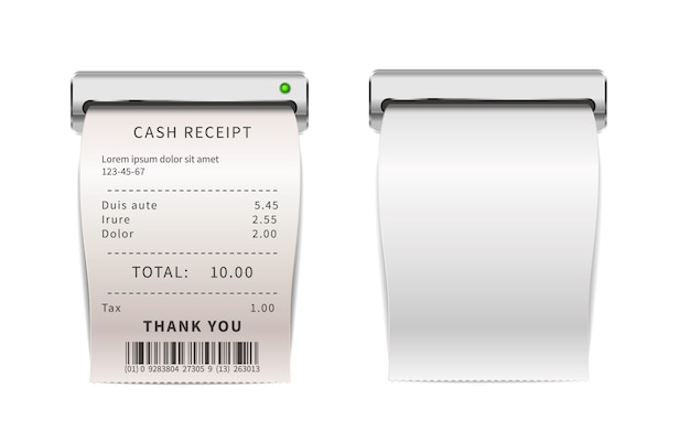 Recibos de vendas realistas saindo da máquina de impressão, contas de compras brancas. verificações financeiras de papel em branco